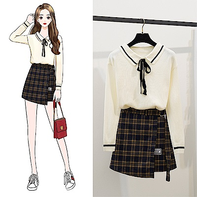 DABI 韓系翻領針織不規則綁帶格紋裙套裝長袖裙裝