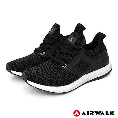 【AIRWALK】極速爆風針織慢跑鞋-男款-黑