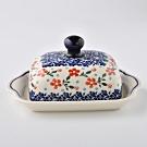 波蘭陶 藍印紅花系列 奶油碟 (含蓋) 20x10.5cm 波蘭手工製
