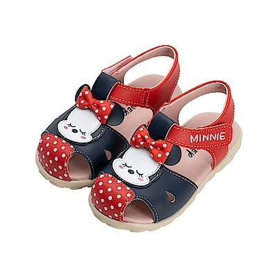迪士尼童鞋 米妮 睡覺寶寶護趾涼鞋-紅