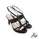 A.S.O 時尚流行 優雅時尚燙鑽腳踝帶細跟涼鞋-黑 product thumbnail 1