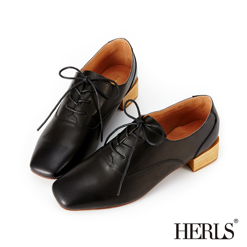 HERLS 輕甜復古 全真皮素面方頭粗跟牛津鞋-黑色 @ Y!購物