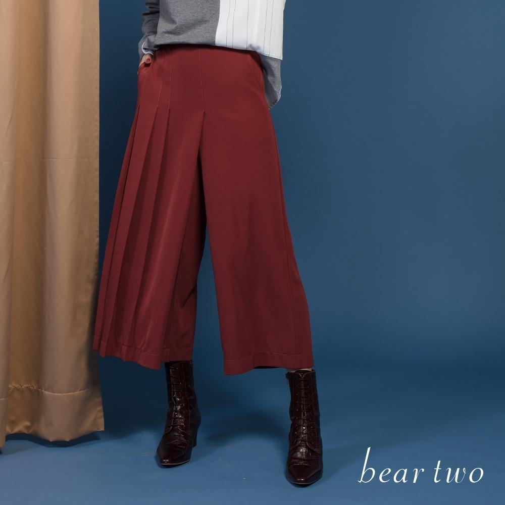 bear two-簡約百摺垂墜寬褲-紅