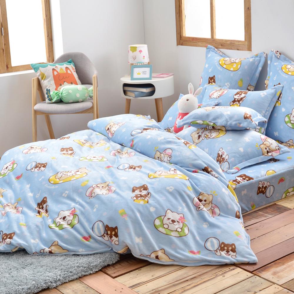 義大利Fancy Belle X PONCORGI 柴柴夏日趣 雙人四件式雪芙絨被套床包組