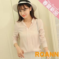 OL風小V領寬鬆雪紡襯衫 (共二色)-ROANN