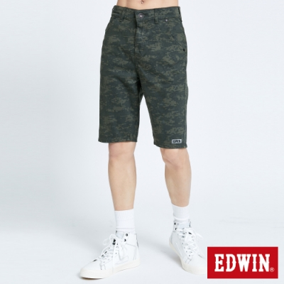 EDWIN JERSEYS 迦績 EJ2 棉涼感迷彩短褲-男-墨綠色