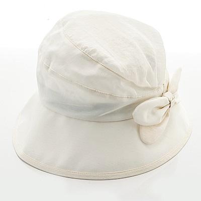 ELLE法式浪漫拼接設計蝴蝶結布帽_米白