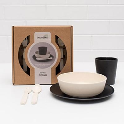 澳洲bobo&boo 竹纖維馬卡龍餐具組-黑白不分