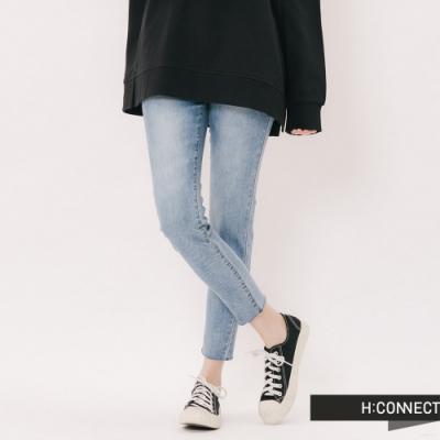 H:CONNECT 韓國品牌 女裝 - 水洗刷色鬆緊牛仔褲 - 藍