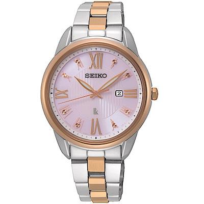 SEIKO精工LUKIA廣告款花漾時光太陽能腕錶(SUT362J1)-粉