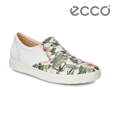 ECCO SOFT 7 W 經典套入式休閒鞋 女-白底花色