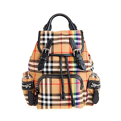 BURBERRY The Rucksack Vintage 格紋小型斜背式軍旅背包(彩虹)