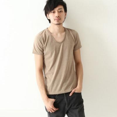 短袖T恤窄版雙捲V領素T(11色) ZIP日本男裝