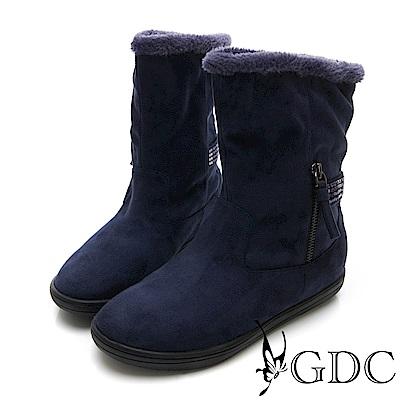 GDC-秋冬水鑽絨毛2WAY反摺小短靴-藍色