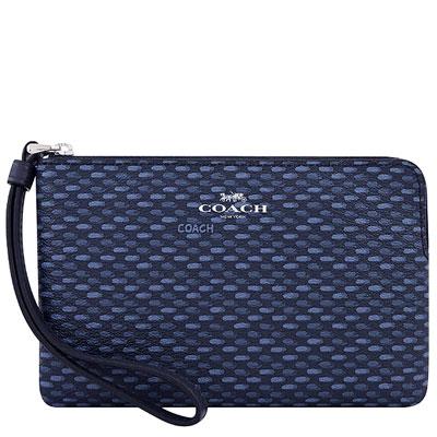 COACH 海軍藍色PVC織紋圖樣手拿包