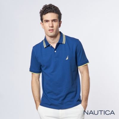 Nautica 機能型超彈力短袖POLO衫-藍