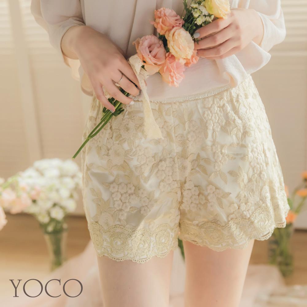 東京著衣-YOCO 宮廷風質感花朵刺繡短褲-S.M.L