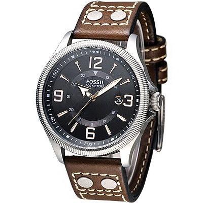 FOSSIL 風格至上復古型男腕錶-黑面/褐帶(FS4962)/36mm