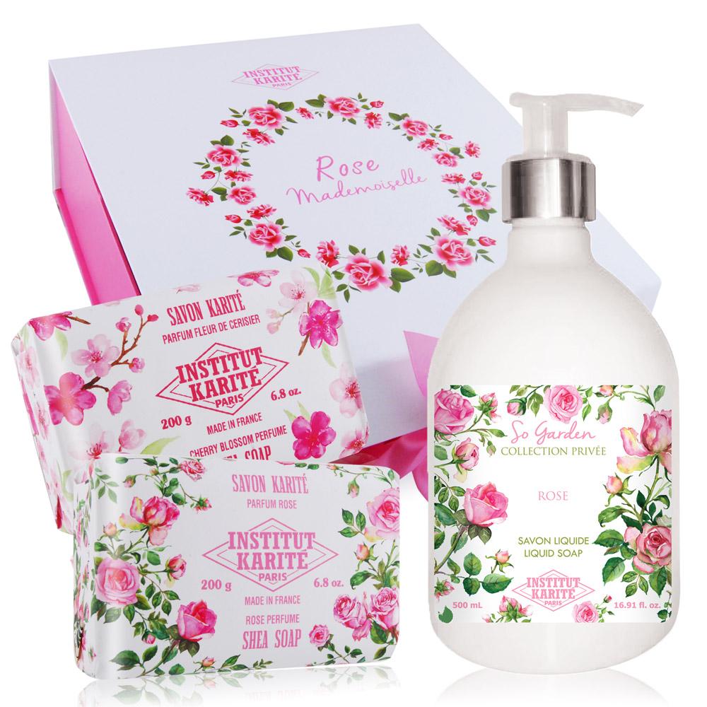 IKP 巴黎乳油木 玫瑰花園香氛液體皂500ml+手工皂200gX2 再贈原廠精美禮盒