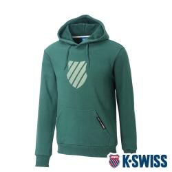 K-SWISS Shield Logo Hoodie刷毛連帽上衣-男-綠