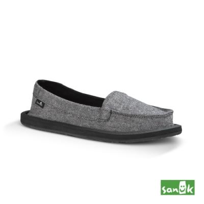 SANUK 女款 US7 素面帆布娃娃鞋(灰色)