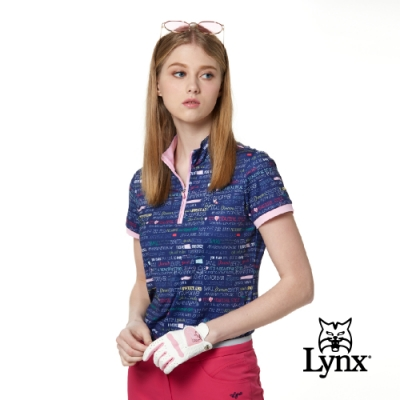 【Lynx Golf】女款吸汗速乾合身版造型拉頭文字印花短袖立領POLO衫-深藍色