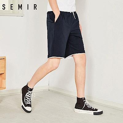 SEMIR森馬-腰間綁帶雙色拼接感短褲-男