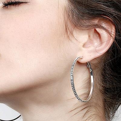 梨花HaNA 爆賣無耳洞韓國全水鑽大圈圈耳環夾式銀色