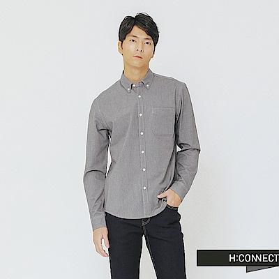 H:CONNECT 韓國品牌 男裝-簡約鈕扣造型牛津襯衫-灰