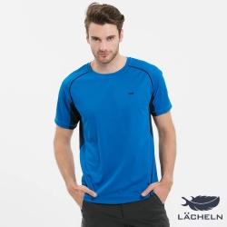 【LACHELN】男款MIT抗UV吸排快乾運動圓領上衣-中藍色(S72MA06)