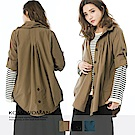 【KOMI】-日雜風棉壓褶翻袖外套式襯衫 (共三色)