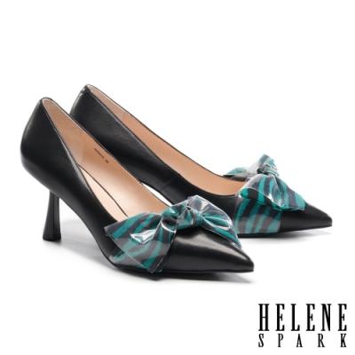 高跟鞋 HELENE SPARK 時髦氣質大蝴蝶結羊皮尖頭高跟鞋-黑