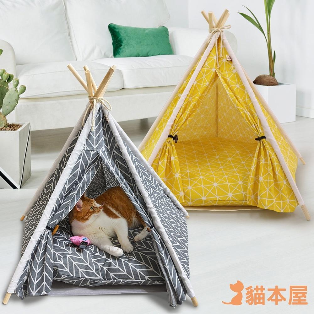 貓本屋 狗窩/貓窩 可拆洗四季通用 五角型亞麻寵物帳篷