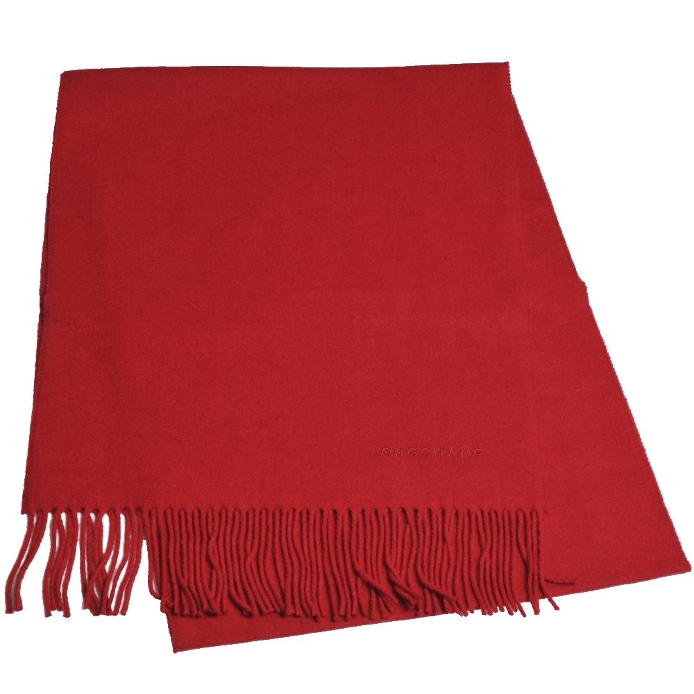 LONGCHAMP 蘇格蘭製品牌字母刺繡LOGO混喀什米爾羊毛圍巾/披肩(紅)