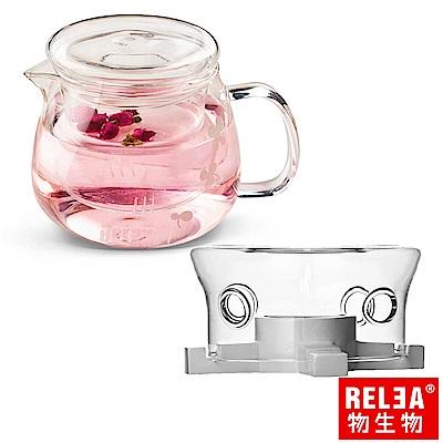 香港RELEA物生物 小花耐熱玻璃泡茶壺500ml(附濾茶器)+玻璃茶爐