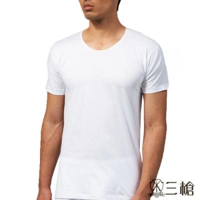三槍牌 時尚型男純棉短袖圓領汗布衫HE916 白色3 件組