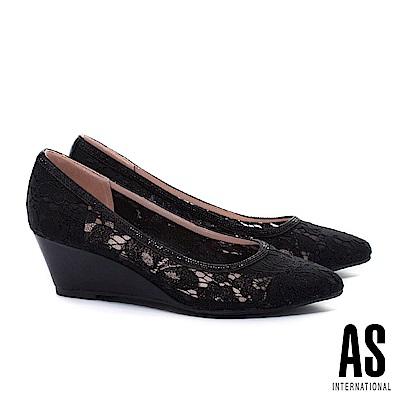 高跟鞋 AS 浪漫優雅蕾絲網布尖頭楔型高跟鞋-黑