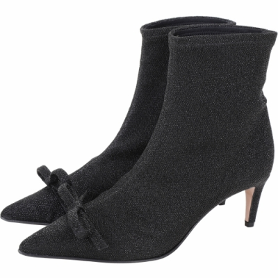 RED VALENTINO 彈性金屬紗線蝴蝶結尖頭襪套靴 短靴(黑色)