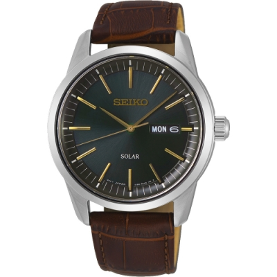 SEIKO精工 CS 太陽能SOLAR 手錶(SNE529P1)-綠x咖啡色錶帶/40mm