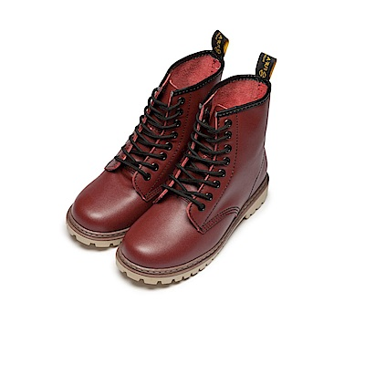BuyGlasses 全真皮個性帥氣馬汀靴-紅