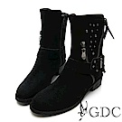 GDC-小牛皮西部率性經典鉚釘側拉鍊中筒靴-黑色