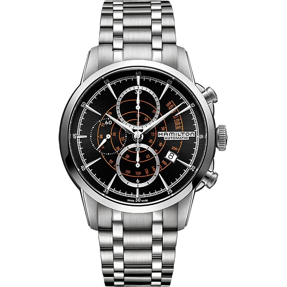 Hamilton RAILROAD 鐵路系列計時機械腕錶-黑x銀/44mm