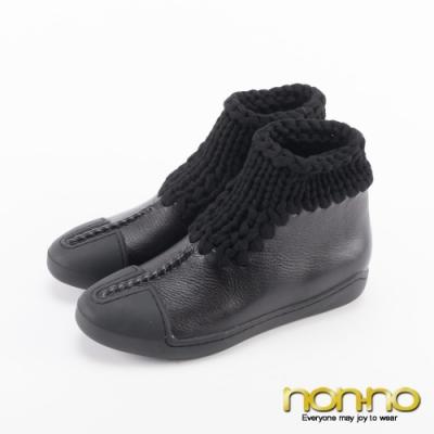 Nonno諾諾復古亮皮麻花布拼接休閒短靴-黑