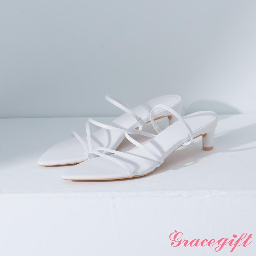 Grace gift-尖頭層次細帶中跟涼鞋 白