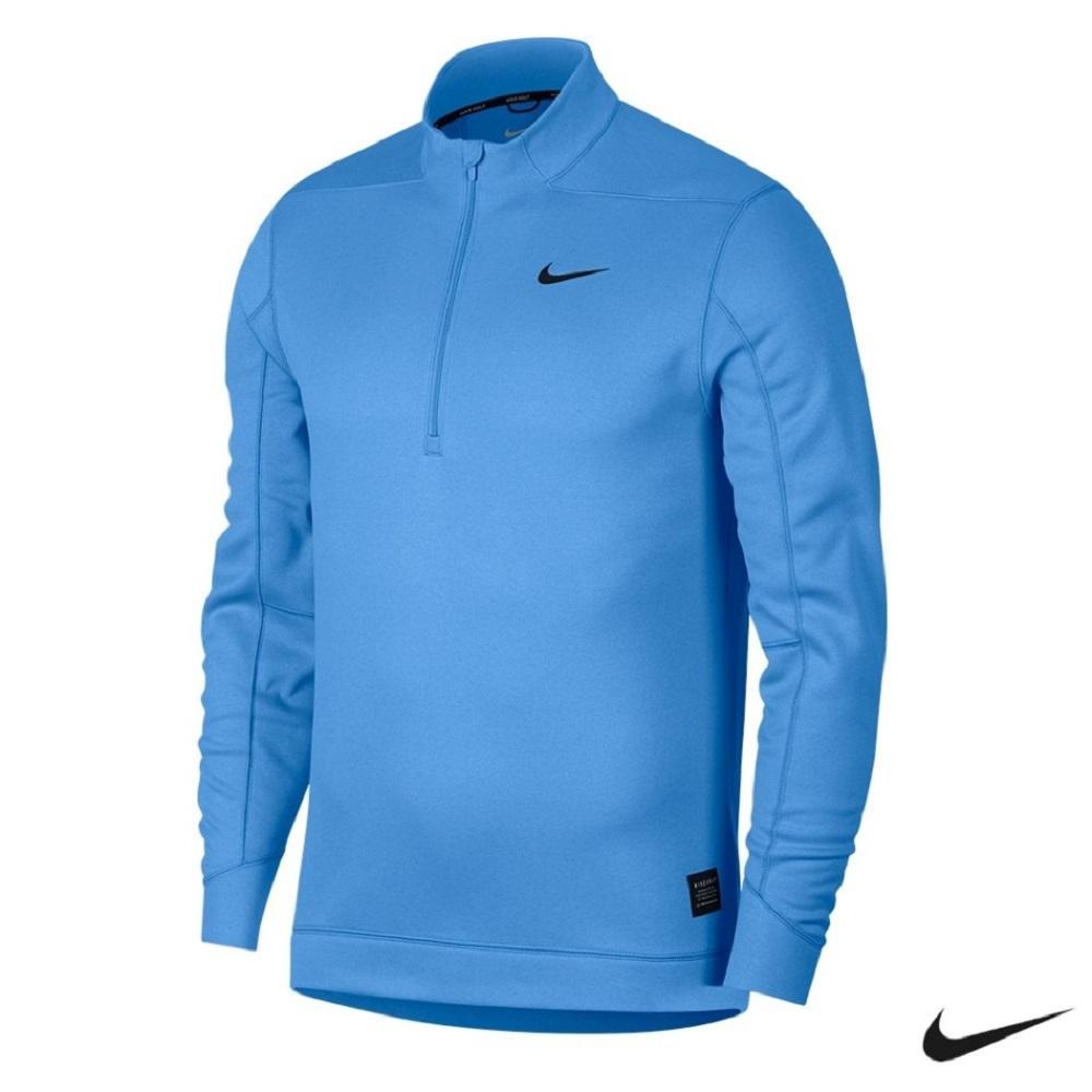 NIKE 男 立領半拉鍊保暖長袖上衣 藍 932351-412