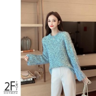 2F韓衣-韓系寬鬆圓領保暖針織毛衣-綠-F