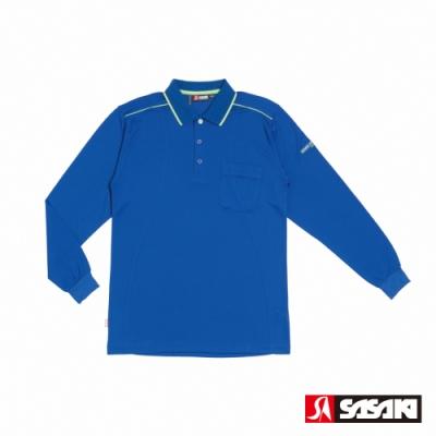 SASAKI 長效性吸排功能POLO休閒長衫-男-義大利藍/艷綠