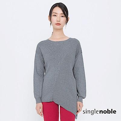 獨身貴族 率性女郎拼接坑條斜裁針織衫(2色)