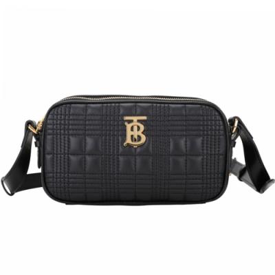 BURBERRY TB 車縫格紋羊皮迷你斜背包/腰包(黑色/背帶可拆)