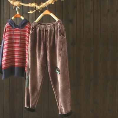 盤扣貼布純棉燈芯絨寬鬆加絨哈倫長褲-設計所在